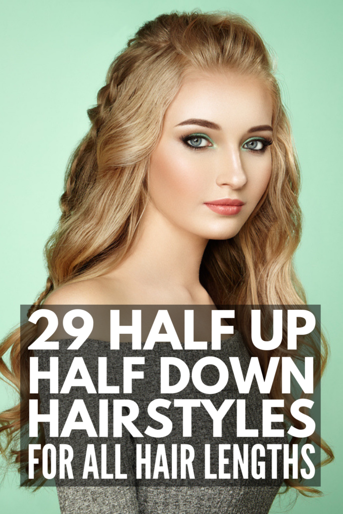 29 Easy Half Up Half Down Hairstyles for Every Hair Length | Perfect for weddings, for prom, for work, for date night, and for casual days at home, these hair tutorials will teach you how to get the best half up half down style for short, shoulder length, and for long hair! We've also included ideas for gals with straight and curly hair, as well as simple styles with braids that are sure to wow! #halfuphalfdownhairstyles #halfuphalfdown #easyhairstyles