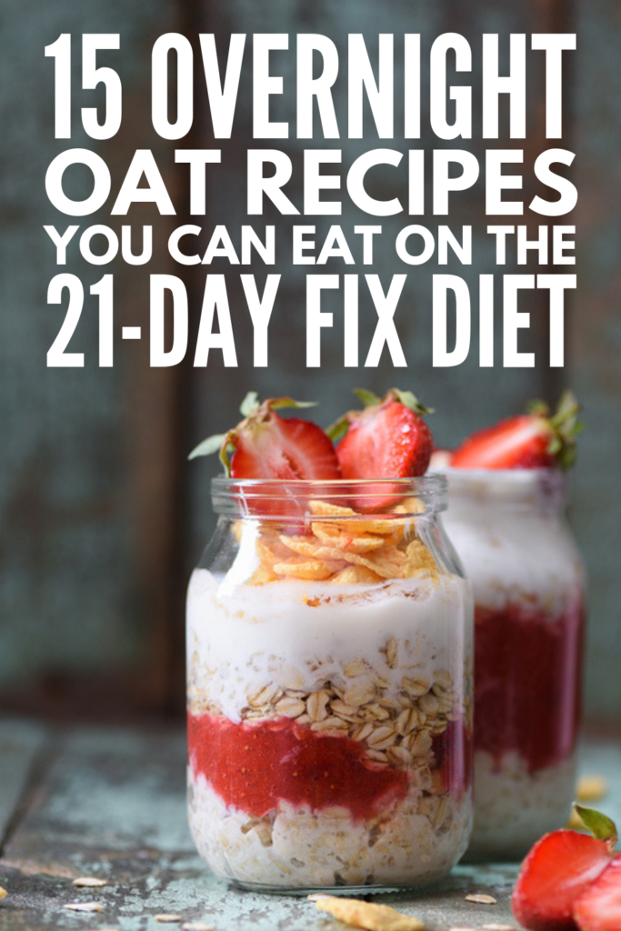 21 Day Fix Overnight Oats Recipes | Whether you've committed to the 21 Day Fix Beachbody program, or just need some clean eating recipes to help with your weight loss goals, this collection of overnight oats recipes is for you! Whether you enjoy fruit-infused oats, like blueberry, strawberry, banana, apple, or peach, prefer a chocolate and peanut butter combo, or like something more specific, like pumpkin or carrot cake oats, we've got you covered! #21dayfixbreakfast #21dayfixrecipes