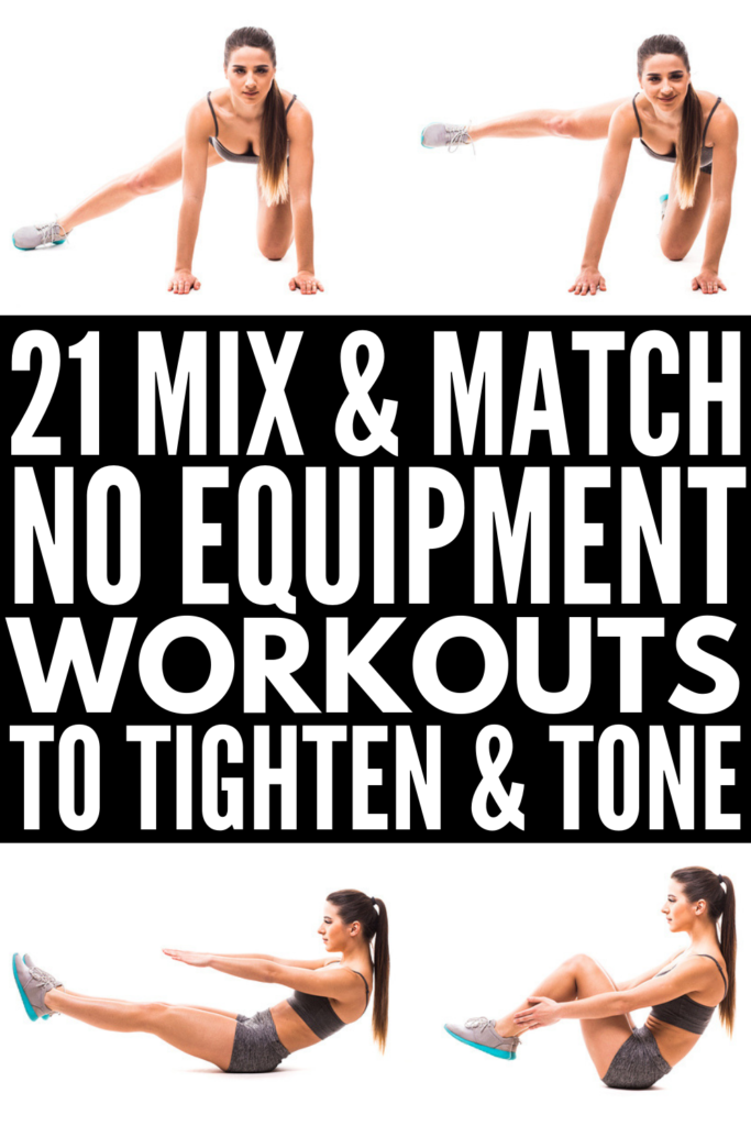 Beginner Full Body No Equipment Workout Plan | If you long to look like a Victoria Secret model, but can't afford or access a gym on the regular, this collection of no equipment workouts is for you! We've included 3 workouts each to tighten and tone your abs, arms, legs, butt, thighs, back, and core, as well as full body HIIT cardio workouts you can do at home. Losing weight (and love handles) has never been easier! #noequipmentworkouts #fullbodyworkout