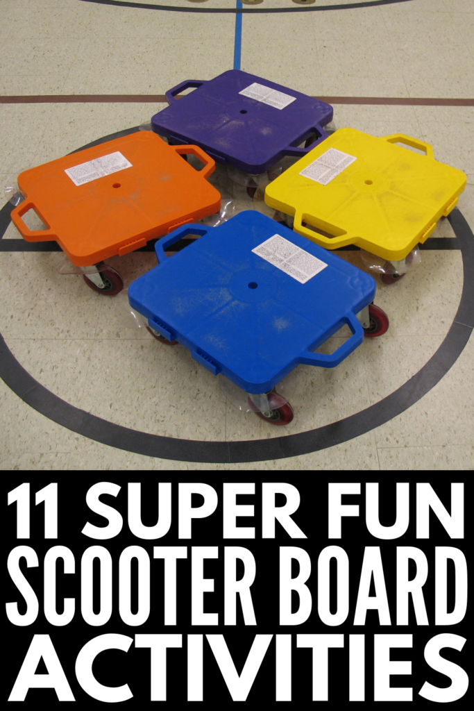 11 Scooter Board Activities | Looking for fun occupational therapy ideas to do at home or in the classroom to develop a child's gross motor skills, improve focus for greater learning, reduce stress and anxiety, and help with self-regulation? From awesome ideas children can do independently, to obstacle course inspiration for teachers and therapists who have access to a gym, these heavy work activities for kids are so much fun! #scooterboard #grossmotor #grossmotoractivities