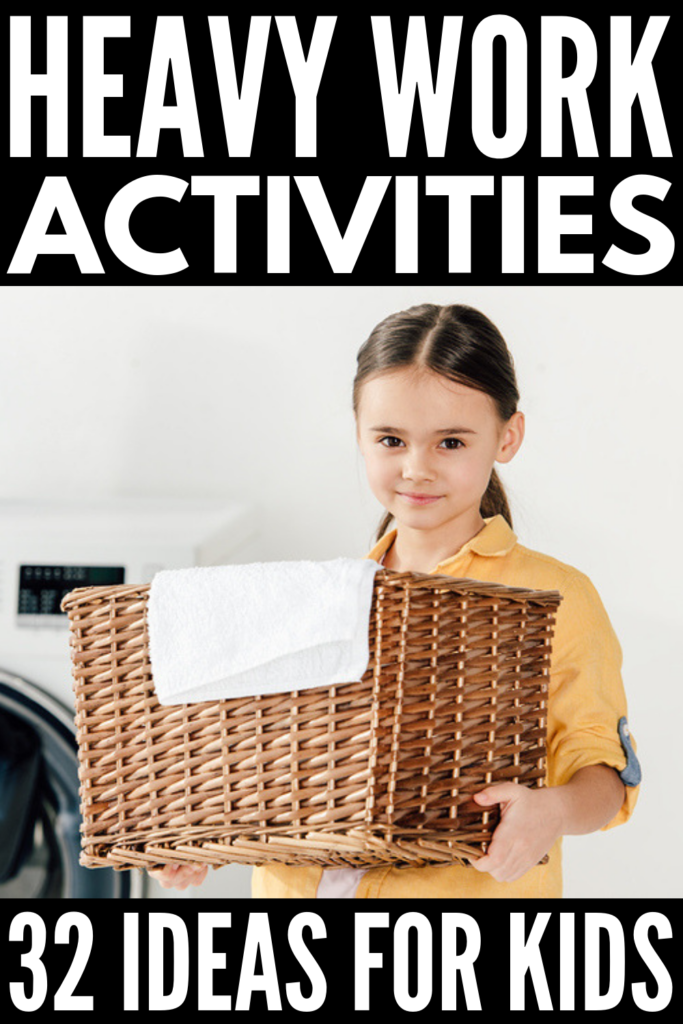 32 Heavy Work Activities for Kids | If you're looking for proprioceptive activities to help your child with body awareness, self-regulation, and focus at school, at home, or in Occupational Therapy, these fun and engaging gross motor activities are a great place to start! Engaging students in regular brain breaks can help make learning easier, making this list a great tool for teachers and parents of kids of all ages and abilities. #heavywork #sensoryprocessingdisorder #proprioception