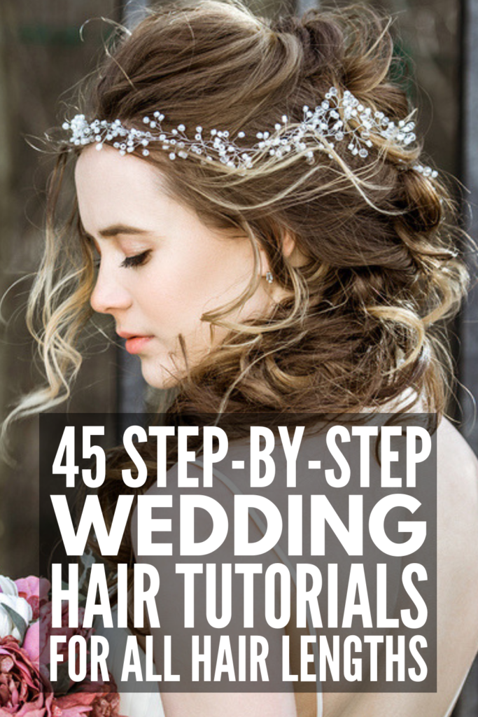 45 Wedding Hairstyles for All Hair Lengths | Whether you're looking for wedding updo ideas for short, medium length, or for long hair, we've curated 45 ideas to inspire you! From a simple half up half down with flowers, to boho styles with braids, to a classic chignon and more, we've found DIY styles for every face shape and hair type – straight, wavy, curly, with bangs, thin, thick, and beyond! #weddinghairstyles #weddingupdo #weddinghair