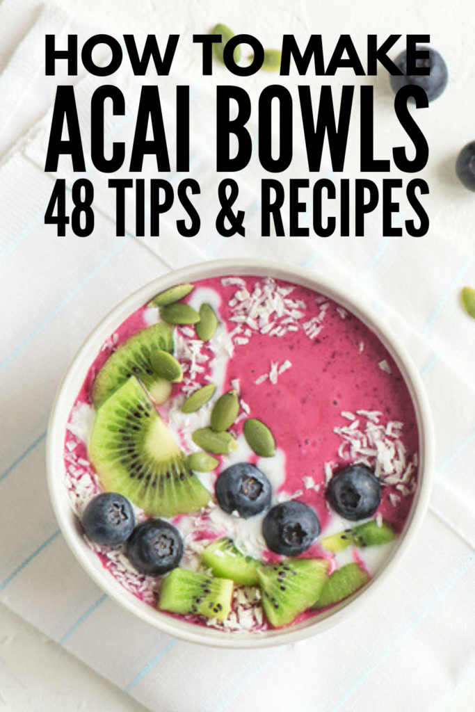 How to Make Acai Bowls | Want to know how to make acai bowls at home? We're sharing everything you need to know about acai (health benefits, side effects, etc.), tips for making acai bowls, as well as 45 delicious and healthy homemade acai bowl recipes we love. From a basic acai breakfast bowl, to bowls with fruit and berries, to creating a creamy acai smoothie bowl using bananas and/or avocado, these ideas will take your mornings to a whole new level! #acaibowlrecipes #acaibowls
