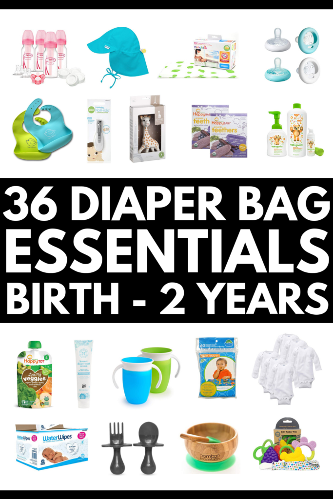 36 Diaper Bag Essentials | Trying to get organized for the arrival of your first baby? Already brought your newborn home from the hospital? This diaper bag checklist outlines what you will need at each stage of your baby's development while you're out and about. We're included essentials for newborns, babies aged 6-12 months, for 1-year-old toddlers, and more! We've even linked to 8 stylish bags for mom, including options daddy won't mind carrying! #diaperbagessentials #diaperbagchecklist