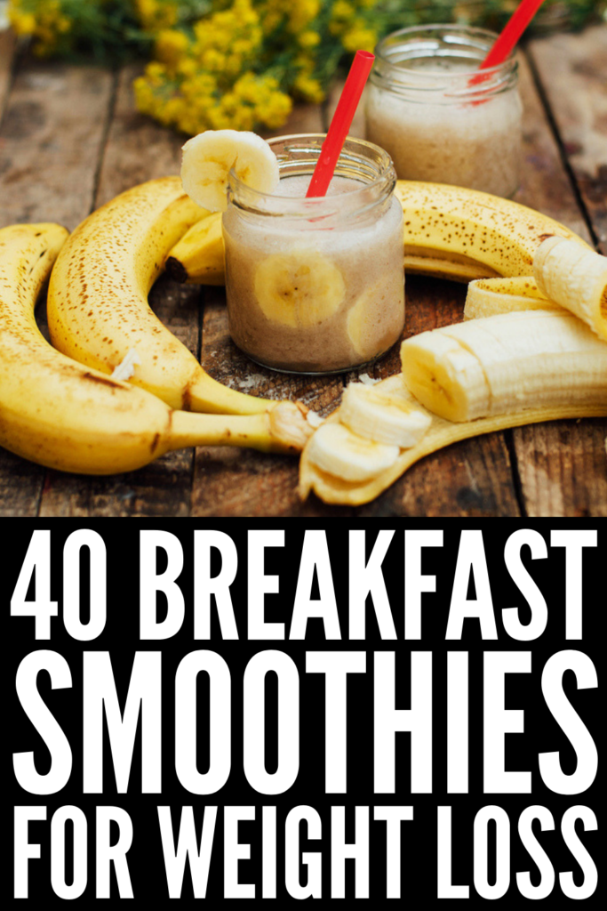 40 Breakfast Smoothies to Fuel Your Day | Looking for healthy smoothies for weight loss? These recipes will inspire you! They're loaded with fruits and veggies, healthy fats and filling proteins, and we've included coffee smoothies for added energy! Whether you like fruit-based smoothies with things like strawberries, raspberries, blueberries, and banana, or prefer chocolate and peanut butter inspired ideas, these meal replacements will not disappoint! #breakfastsmoothies #smoothierecipes