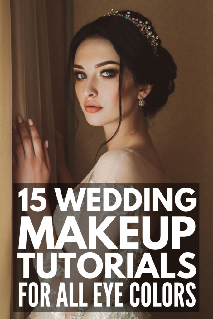 15 Wedding Makeup Tutorials for All Eye Colors | Whether you want a soft, natural, romantic makeup look for your big day, or want something more dramatic, we've curated 5 step-by-step tutorials each for brown eyes, blue eyes, and green eyes! Perfect for blondes, for brunettes, for fair skin, and for darker complexions, these classic makeup looks are perfect for summer, fall, winter, and spring. #weddingmakeup #bridalmakeup #makeuptutorials