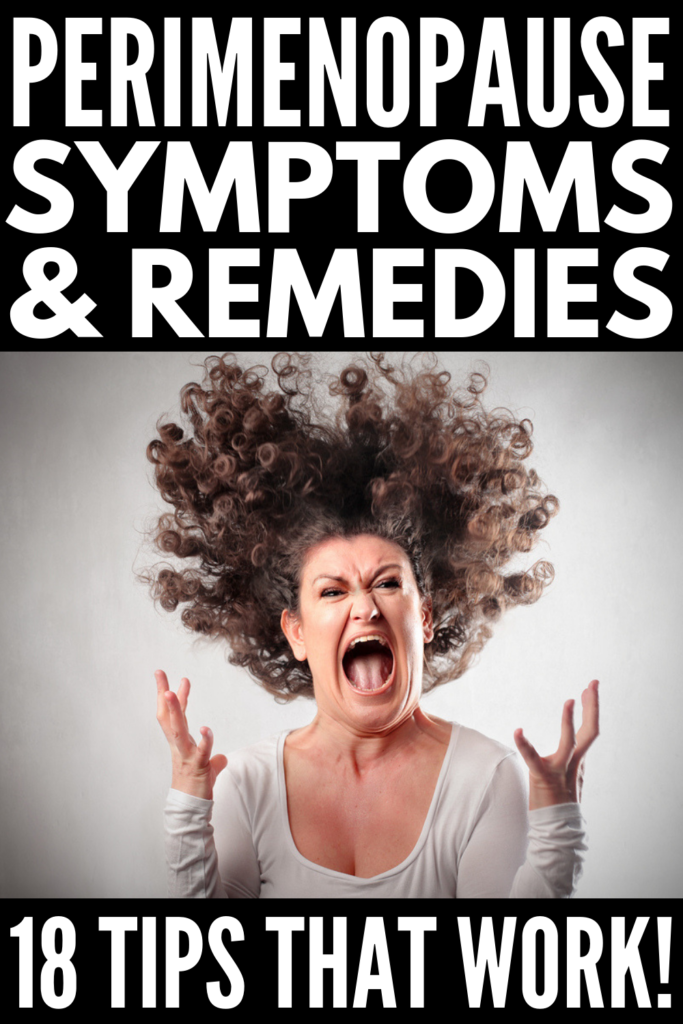18 Natural Remedies for Perimenopause | From irregular periods and hot flashes, to insomnia and reduced libido, to mood swings and weight gain, perimenopause can be overwhelming and frustrating. If you're looking for relief from perimenopause symptoms, we're sharing our best tips and strategies, including recommended diet changes, supplements, the best exercises for weight loss after 40, stress management techniques, and more! #perimenopause #menopause #womenshealth #weightlossafter40