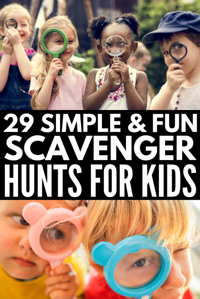 29 Scavenger Hunt Ideas for Kids | If you're looking for easy kids activities for an upcoming birthday party, or to enjoy during summer vacation, on lazy weekends at home in the backyard, or while camping, at the park, or at the beach, this collection of scavenger hunt ideas with clues is sure to inspire you! With a selection of both indoor and outdoor ideas to choose from, you can enjoy these during fall, winter, spring, or summer! #scavengerhunt #indooractivities #outdooractivities