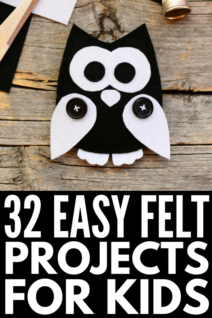 32 Felt Projects for Kids | If you're looking for crafts and activities you can enjoy with your children on bad weather days, we've curated 32 ideas to inspire you! We've included easy no sew ideas for toddlers and preschoolers, simple sewing projects for beginners, and more advanced DIY ideas for older kids to make. With free patterns and printable templates, you'll be amazed what you can create with some felt, glue, thread, and a needle! #feltprojects #feltcrafts #nosew #kidssewingprojects