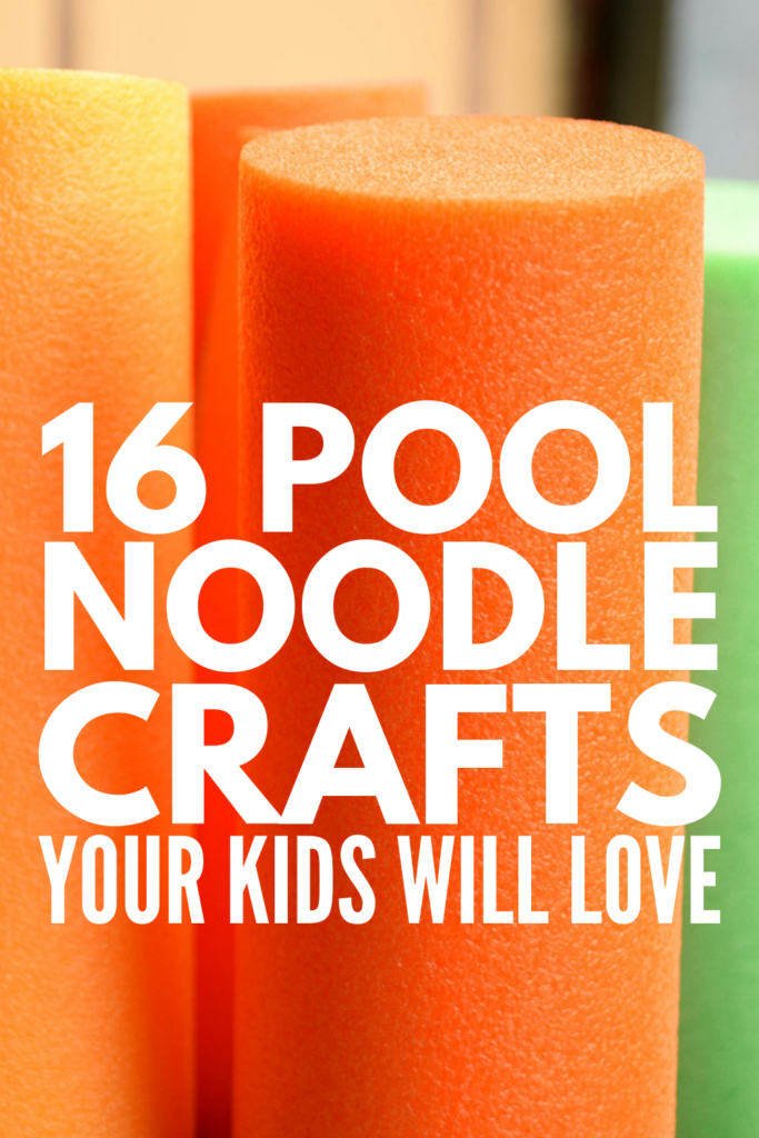 16 Pool Noodle Crafts for Kids | If you're looking for easy DIY projects to do with your kids on bad weather days, need creative classroom crafts you can enjoy year-round, want awesome outdoor activities for summer vacation, or need birthday party game ideas, this post has it all! With 16 games, activities, and crafts to choose from, you'll never hear the words 'I'm bored' again! #poolnoodlecrafts #kidscrafts #poolnoodlefun