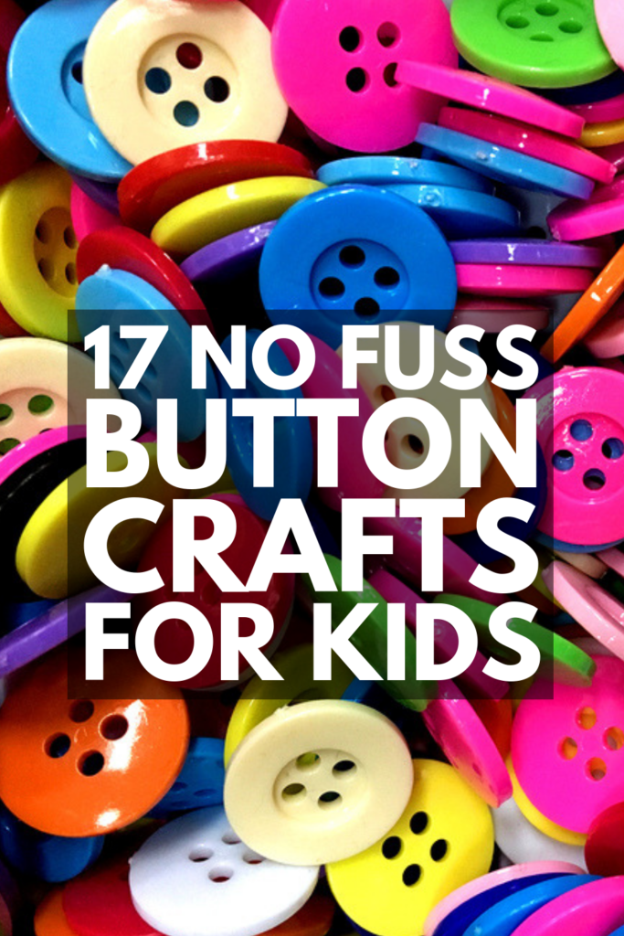 17 Button Crafts for Kids | Perfect for children of all ages – from toddlers to school-aged kids – this collection of easy DIY art projects is sure to keep your little ones busy. With so many ideas to choose from, like jewelry, magnets, keychains, frames, and bowls you can display with pride around your home, these creative ideas make the perfect gifts kids can make. They also make fun activities you can enjoy in the classroom! #buttoncraftsforkids #buttonactivities #kidscrafts