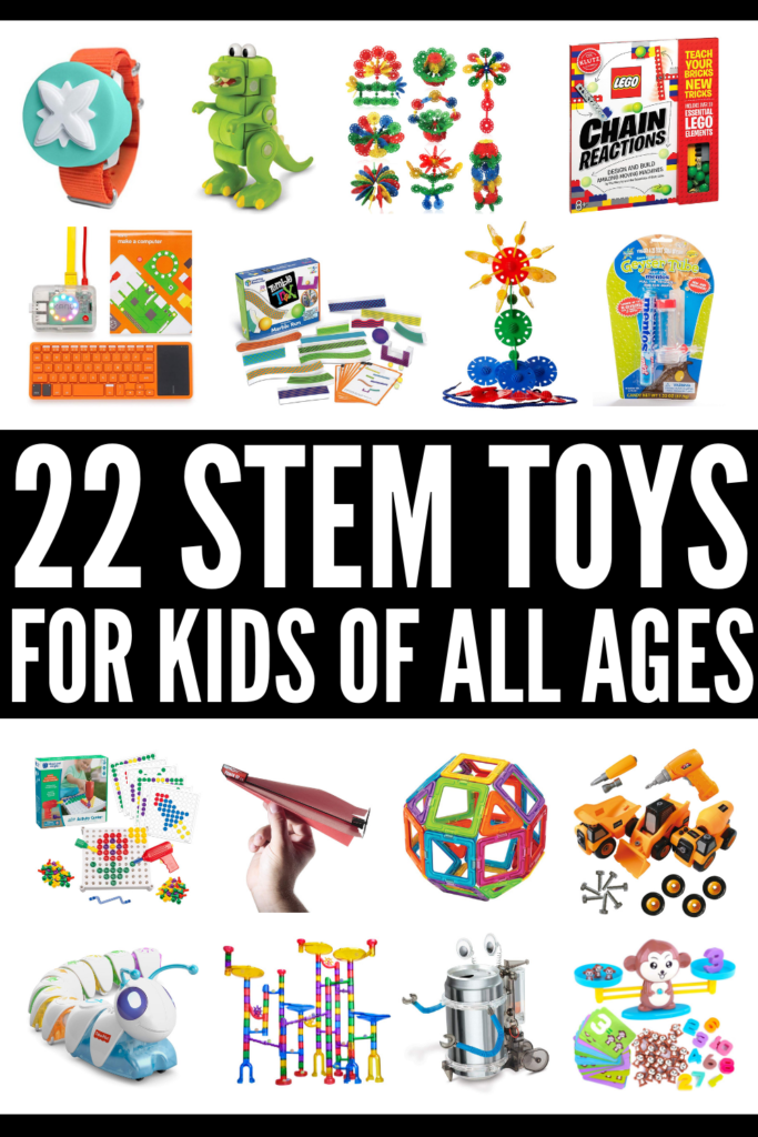 22 STEM Toys for Kids | If DIY projects aren't your thing, but you want to find a way to incorporate STEAM learning into the kids activities you and your children do at home, this collection of ideas will inspire you! With ideas for toddlers, kids in preschool, kindergarteners, and for elementary aged kids (ages 6-12), we've curated 22 of the best STEM toys for girls and boys! Science, engineering, math, and technology has never been easier – or more fun! #stemtoys #stemactivities #stemprojects