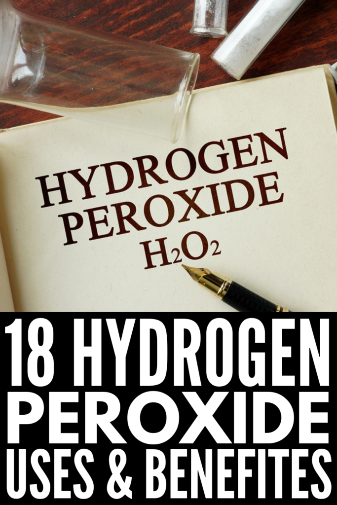 18 Hydrogen Peroxide Uses | Many of us remember our moms using hydrogen peroxide for cleaning cuts and scrapes, and while this is no longer recommended (what?!), you can use hydrogen peroxide to kill bacteria on surfaces in your kitchen and bathroom, to whiten your laundry, and to get out tough stains. It's also good for acne, for skin care, as a foot soak for cracked heels, and for whitening teeth. Click for our best cleaning, beauty, and health uses for H2O2! #naturalremedies #homeremedies