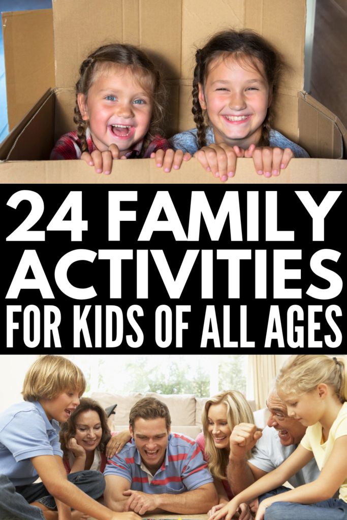 24 Family Activities for Kids of All Ages | Looking for fun ways to spend quality time with your kids at home? Whether you need ideas for toddlers, kids in preschool, kindergarten, elementary-aged kids, tweens, or teenagers, we've got you covered. These boredom busters are perfect for weekends and school holidays, and will keep your family entertained and off their electronics in the summer, fall, winter, and spring! #familyactivities #boredombusters #familygames #familygamenight