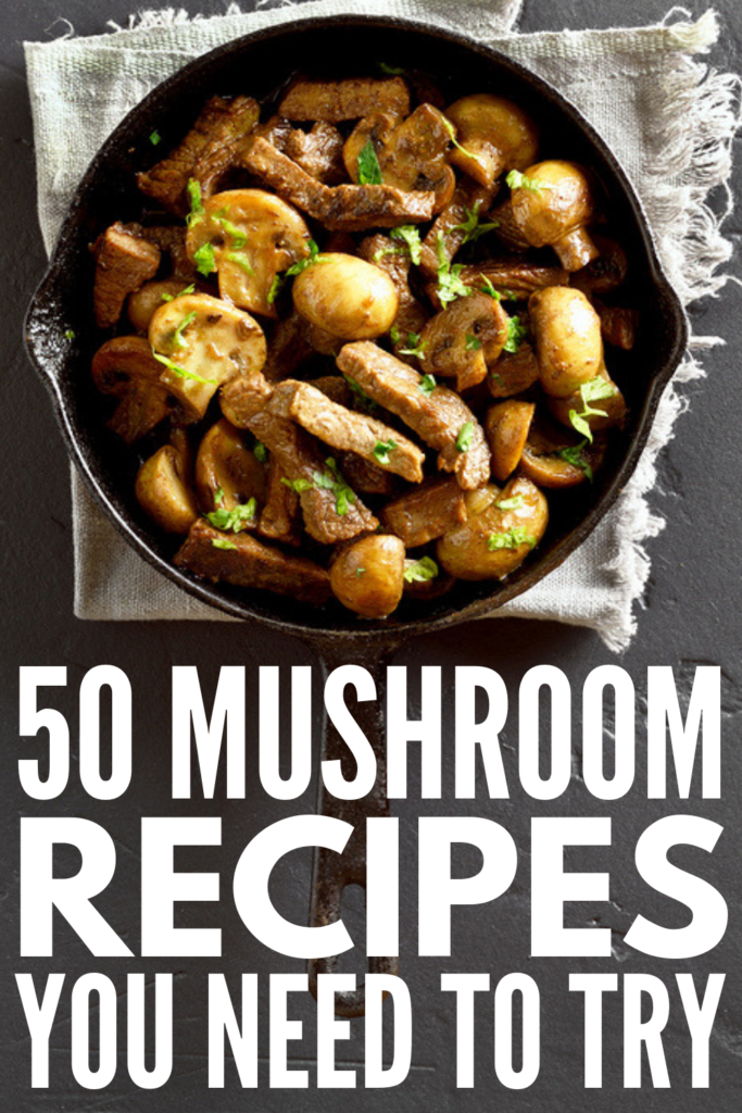 50 Mushroom Recipes | Whether you like your mushrooms sautéed, baked, roasted, stuffed, as an appetizer, cooked in a soup or pasta, or as a side dish, these ideas are healthy - with a few low carb and creamy keto approved options to choose from! From button, to shitake, to portabella, you can cook these in a pan, in the oven, or throw them in your crockpot, instant pot, or slow cooker. #mushroomrecipes #mushroomsidedishes #stuffedmushrooms #mushroomsouprecipes #sauteedmushrooms