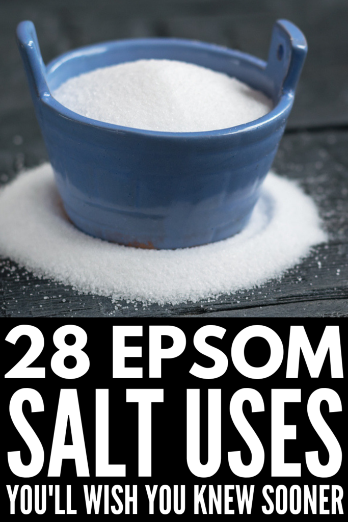 28 Epsom Salt Uses | There are so many uses for Epsom salt! Whether you're adding it to your bath for general health ailments or as part of your regular beauty routine, sprinkling it in the garden, or using it as a cleaning or laundry hack, the benefits of Epsom salt are huge. Click for 9 beauty uses (for skin, for feet and for hair), 11 health benefits (for pain, sore muscles and constipation) as well as 9 household hacks you'll wish you knew sooner! #epsomsalt #epsomsaltuses #natural #remedy