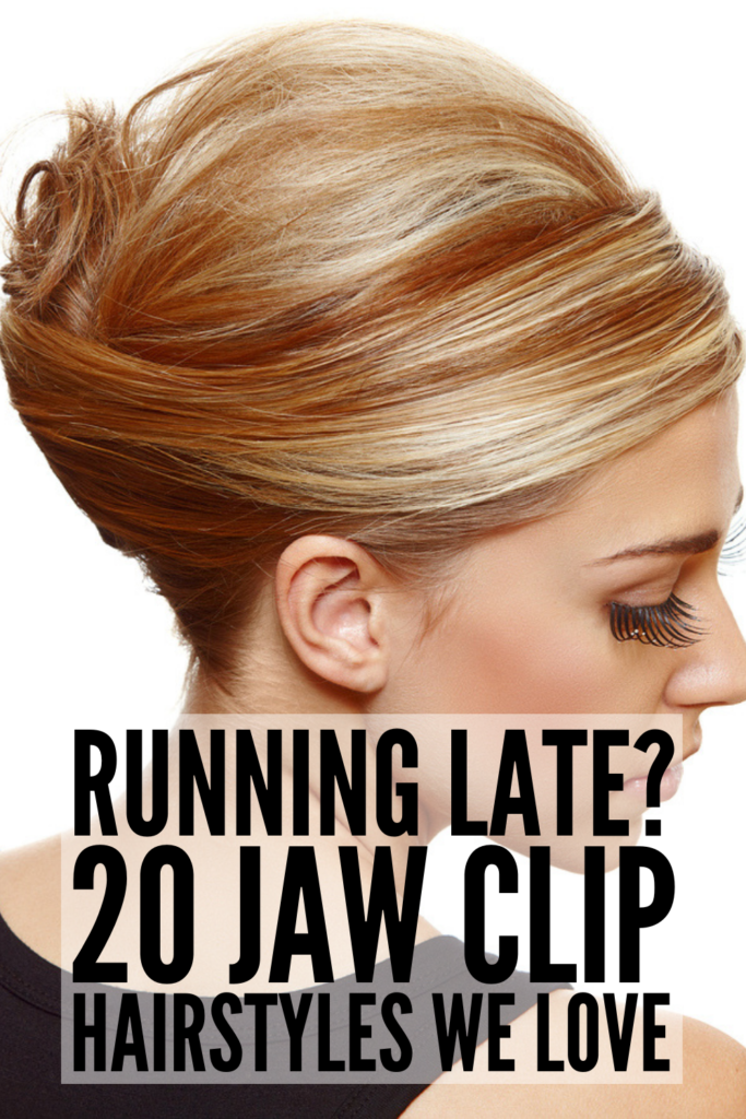 20 Jaw Clip Hairstyles for All Hair Lengths | Jaw clips are the perfect hair accessories, and we're sharing our favorite hairstyles and tutorials for short, medium length, and long hair! From simple messy buns, to formal updos for work, to half up half down hairstyles, to braided hairstyles, there's a style here for everyone! Whether you have straight, wavy, or naturally curly hair, jaw clips help create the best second day hairstyles! #runninglatehairstyles #jawclips #clawclips #hairtutorials