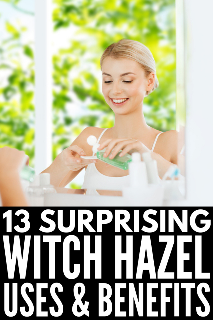 13 Brilliant Witch Hazel Benefits and Uses | Whether you're looking for natural skin care remedies to treat acne, tighten pores, and reduce signs of aging, or you need DIY natural remedies to treat conditions like cold sores, sunburns, infection, sore throat, headache, inflammation, and other aches and pains, witch hazel is about to become your new BFF! Click to learn how to use witch hazel and why you should add it to your beauty routine! #witchhazel #witchhazeluses #naturalremedies
