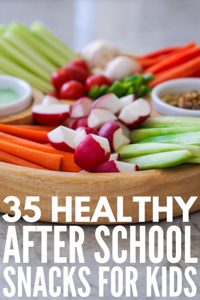 35 Healthy After School Snacks for Kids | Looking for simple, clean eating snacks for children to keep them full until dinner? We're sharing our favorite make ahead snack recipes, easy grab and go ideas, self-serve snacks and options for older kids, and gluten-free recipes for kids with allergies. From a delicious trail mix with chocolate chips, to super simple DIY granola bars, to almond butter energy balls, even your picky eaters will love these recipes! #afterschoolsnacks #makeaheadsnacks