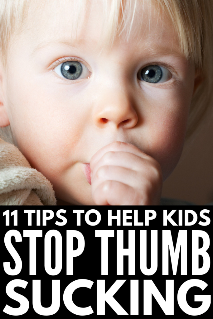 How to Get Kids to Stop Sucking Their Thumb | Perfect for toddlers and older children, these thumb sucking alternatives and behavior strategies will teach you how to get your child to stop sucking his or her thumb (or fingers) once and for all! From reward charts and products that make it impossible for kids to get their thumbs in their mouths, to less invasive DIY gloves and solutions to help curb bad habits over time, these parenting tips work! #thumbsucking #parentingtips #positiveparenting