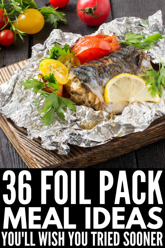 36 Foil Pack Meals You'll Love | Whether you're camping, grilling, cooking in the oven, or creating a summer cookout for kids, foil pack meals are where it's at. You can create healthy family-friendly meals with your favorite ingredients with next to no clean up. From a basic sausage, potato, and green beans foil pack, to grilled halloumi and veggies, to keto steak foil packs, we're sharing 36 ideas for all palettes. #foilpackmeals #foilpacketmeals #hobomeals #campingmeals