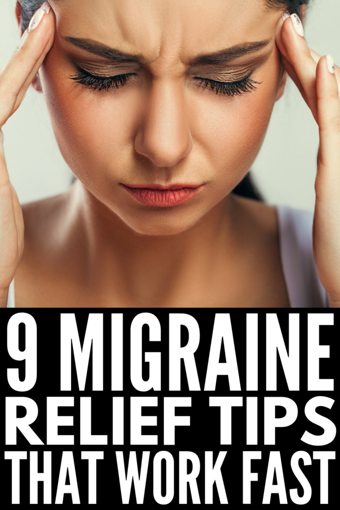 How to Get Rid of a Migraine Fast | If you're looking for headache relief, we've got you covered! We're sharing 9 tips and natural remedies to help you prevent migraines and reduce the signs and symptoms when they do occur. From making changes to your diet, to getting a healthy amount of sleep, to reducing stress, to vitamins, supplements, and teas, these ideas work! #migraine #migrainerelief #migrainepain