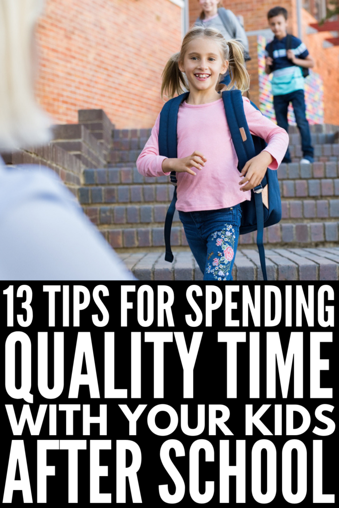 How to Spend Quality Time with Your Kids After School | Parenting can be…busy. Am I right? As much as we try to prioritize spending time at home with our children doing fun things, the truth is that it can be really difficult trying to balance it all. Perfect for moms and dads, we're excited to share 13 simple tips and ideas to help you find time to connect and spend quality time with your kids every single day. #qualitytimewithkids #positiveparenting #intentionalparenting
