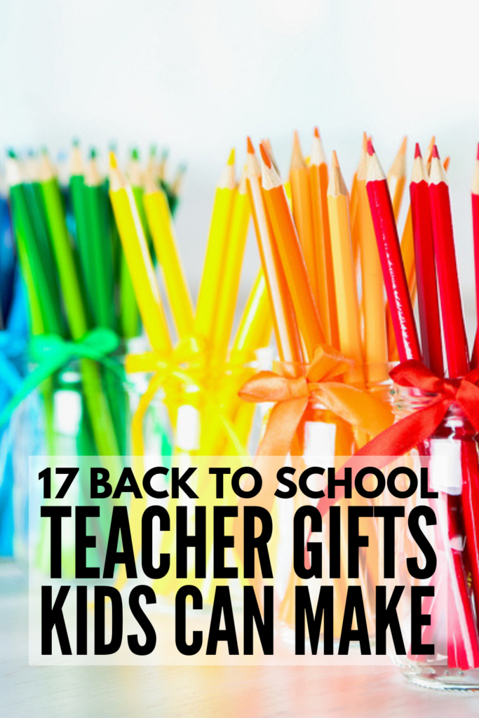 17 Back to School Teacher Gifts Kids Can Make | Looking for cheap but meaningful 1st day of school gifts for the teachers in your life? Perfect for kids in preschool, kindergarten, and elementary school to make, these DIY gifts kids can make will not disappoint! Created with supplies you can pick up at dollar stores everywhere, these ideas are equal parts creative and inexpensive and will look good in your little one's classroom! #backtoschool #teachergifts #giftskidscanmake