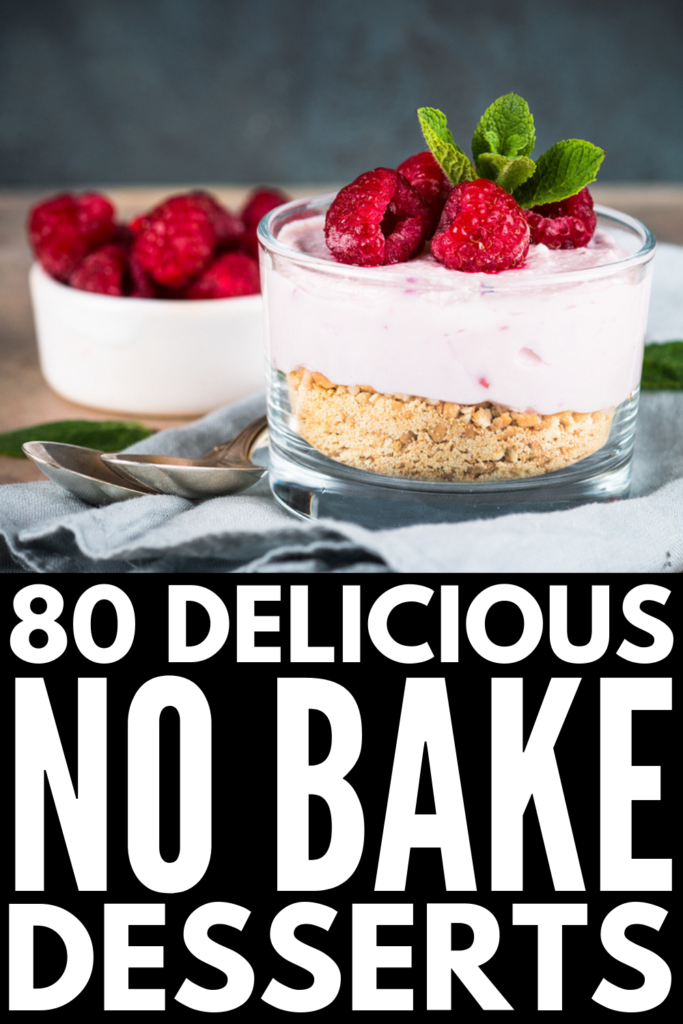 80 No Bake Recipes We Love | If you're looking for easy desserts you can make in a pinch, this post has 80 ideas you'll love. We've included healthy ideas, no bake cookie recipes and full-fledged desserts, and tons of no bake recipes for kids! These ideas are great for a quick after dinner treat, and they're simple enough for classroom cooking inspiration! From cheesecakes to cookies, pies to tarts, you'll love these no bake ideas! #nobakedesserts #nobakecookies #nobakerecipes