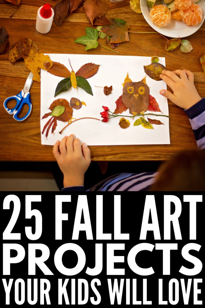 25 Fall Art Projects for Kids | Looking for easy and awesome fall crafts and activities for kids? We're sharing 25 age-appropriate ideas for kids in preschool, kindergarten, and elementary school using materials you probably already have on hand, like leaves, pine cones, popsicle sticks, and coffee filters! These simple art projects make great Thanksgiving decorations, gifts, and keepsakes and will keep your kids busy for hours! #fallartprojects #fallcraftsforkids #fallactivitiesforkids