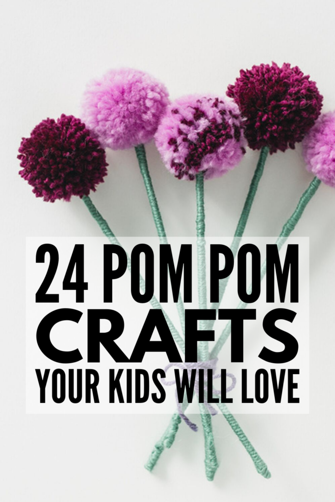 24 Pom Pom Crafts for Kids | If you're looking for easy DIY projects you can enjoy with your children that double as cute gifts and fun decoration ideas for the holidays, these art projects will inspire you! We've included easier options for kids in preschool and kindergarten who are fine tuning their motor skills, and great ideas (and tutorials) to teach older kids how to make pom poms and transform them into their own adorable creations! #pompomcrafts #pompomactivities #pompomcraftideas