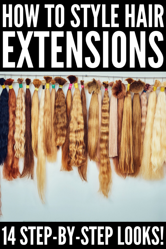 How to Style Hair Extensions | If you're looking for tips and tutorials to teach you how to style your hair with hair extensions, we've curated 14 hairstyles you'll love. From a gorgeous braided half up half down look with beach waves, to an easy yet stylish tousled ponytail, to second day running late messy buns and braids designed to cover tape hair extensions, these hair videos have it all! #hairextensions #hairextensionhairstyles