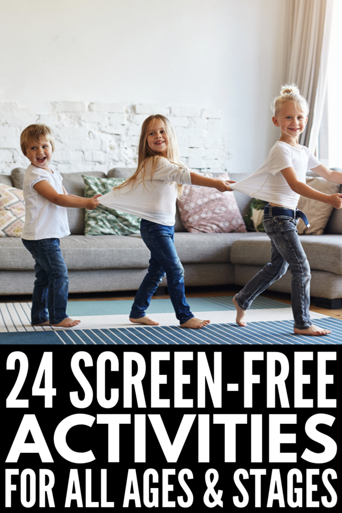 24 Screen Free Activities for Kids | If you're looking for indoor activities for kids to get your children off their electronics, we've got ideas for kids in preschool, kindergarten, and elementary school! Perfect for warding off cabin fever on cold winter, rainy spring, or stinking hot summer days, these no screen activities will prove that parenting without screens IS possible. Going screen free for a week may be just the challenge your kids need! #screenfreeactivities #noscreenactivities