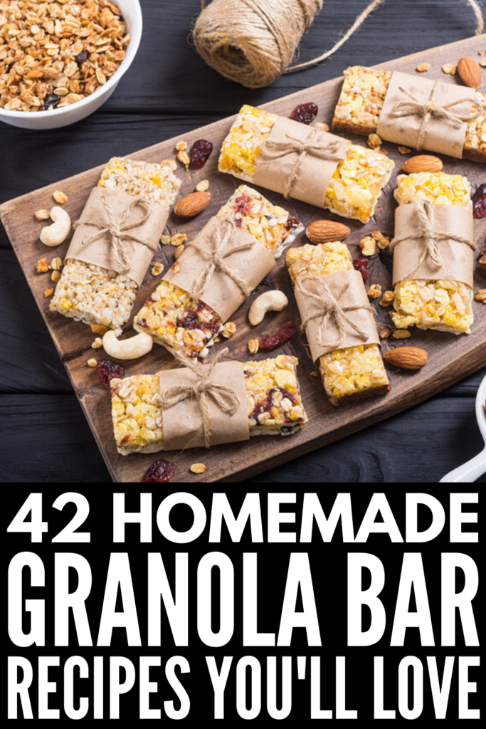 42 Homemade Granola Bars We Love | If you're looking for a healthy snack you can whip up at home, these granola bar recipes are where it's at! We've curated options for every palette and need - nut free options for kids, quick and easy no bake recipes, chewy granola bars, protein rich peanut butter bars, and simple guilt-free no sugar recipes. And if you want to know how to make granola bars so they stick together, we've got 6 tips to help! #granolabars #granolabarrecipes