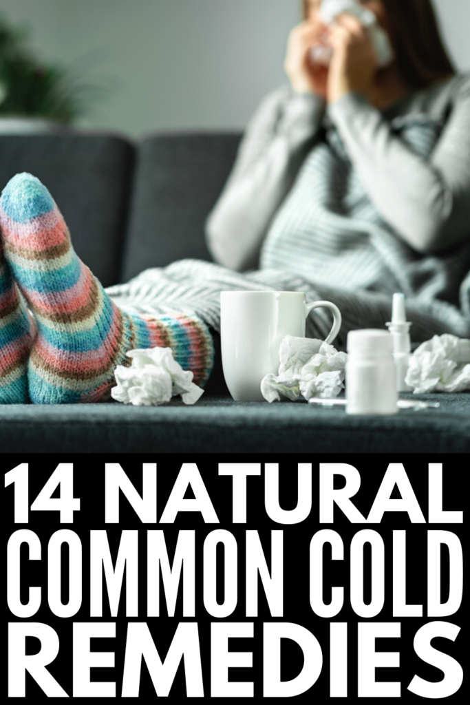14 Natural Common Cold Remedies That Work | If you want to know how to get rid of a cold and all the symptoms that come with it fast, like a runny nose, sore throat, cough, chest congestion, headache, and fatigue, we're sharing 14 natural cures to help you feel better sooner! These DIY remedies will boost your immune system, giving you quick relief that lasts, and most of these can be used with babies and kids! #naturalremedies #homeremedies