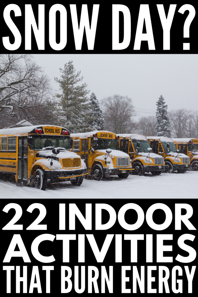 22 Snow Day Activities for Kids | If you're looking for fun and easy activities for toddlers, for preschoolers and kindergarteners, or for kids in elementary school that will get them physically moving while also keeping their brains busy when cabin fever strikes, this is a great list of things to do! From indoor activities designed to burn energy, to independent art projects that will allow you a little time to decompress, these are great boredom busters! #snowday #snowdayactivities #boredkids