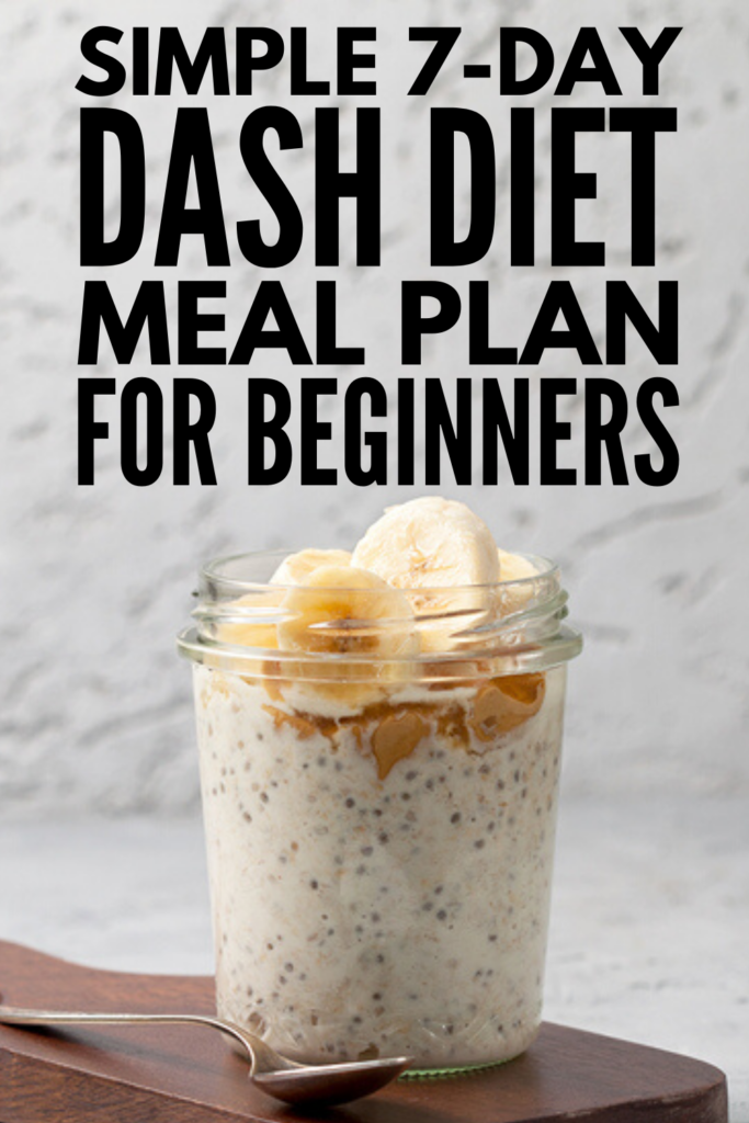 7-Day DASH Diet Meal Plan for Beginners | If you're looking for a meal plan to lower your blood pressure that is also designed for weight loss and maintenance, the DASH Diet might be right for you! We're sharing all of the rules and guidelines to help you get started, along with a 7-day menu with easy and tasty mix and match breakfast, lunch, dinner, and snack recipes you'll love. #dashdiet #dashdietmealplan #dashdietrecipes
