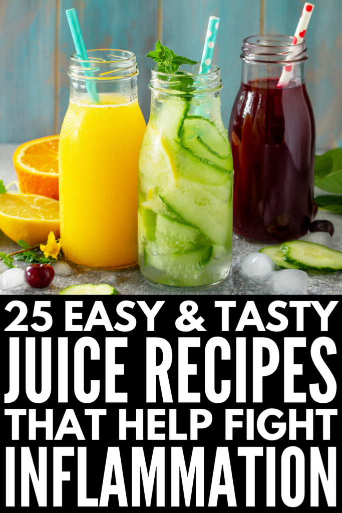 Anti-Inflammatory Juice Cleanse for Beginners | Whether you're following a strict anti-inflammatory diet plan, or you're on the hunt for breakfast recipes to kickstart your day while also helping to reduce the symptoms of autoimmune disease symptoms and/or chronic pain, we're sharing 25 juicing recipes for inflammation to boost your immune system and overall health. These natural remedies are loaded with superfoods and taste fabulous! #naturalremedies #inflammation #antiinflammatory #juicing