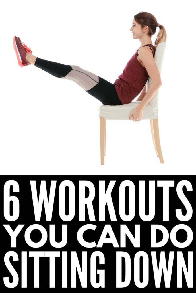 6 Workouts You Can Do Sitting Down | If you're looking for a sitting workout you can do at home or at work, we're sharing 6 chair exercises for abs and glutes, for legs, for thighs, for arms, and for a flat belly. Perfect for women and men who work at a computer all day, for injured athletes, for seniors, and for those with limited mobility, we're teaching you how to get in a good cardio and strength training workout while seated! #chairworkouts #chairexercises #seatedworkout