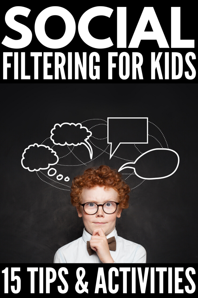 8 Social Filter Activities for Kids | If you're looking for social skills activities that help teach children how to filter their thoughts and learn whether they should think it or say it out loud, we're sharing 8 ideas that can be used for elementary school, for middle school, for high school, and for kids with special needs like autism and ADHD. These are great team building exercises and will help develop friendship and conversation skills. #socialskills #socialfilter #socialskillsactivities