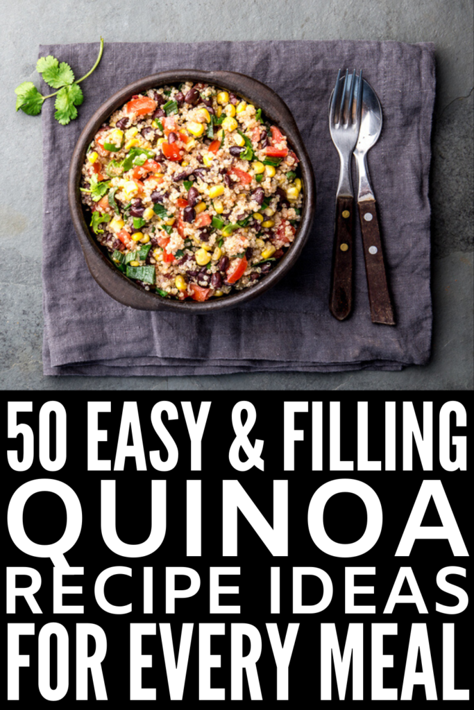 50 Quinoa Recipes for Every Meal | Whether you follow a vegan, vegetarian, plant-based, and/or gluten-free diet, or you're just looking for easy, healthy, and filling recipes for weight loss, quinoa is a gluten-free, high protein, mineral-rich superfood with anti-inflammatory benefits. Check out these delicious quinoa-based breakfast, lunch, dinner, snack, and dessert recipes that are equal parts filling and delicious! #quinoa #quinoarecipes #plantbasedprotein #glutenfreerecipes