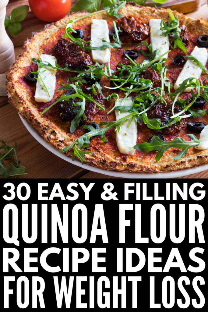 30 Quinoa Flour Recipes | If you're looking for clean eating recipes that are gluten-free and a good source of plant-based protein, quinoa flour is a healthy wheat alternative to try. From breakfast recipes, like pancakes and waffles, to gluten-free pizza crusts and breads, to guilt-free desserts, like cookies, muffins, and brownies, we're sharing 30 of our favorite quinoa flour recipes for weight loss and maintenance! #quinoa #quinoaflour #glutenfreerecipes #plantbasedprotein