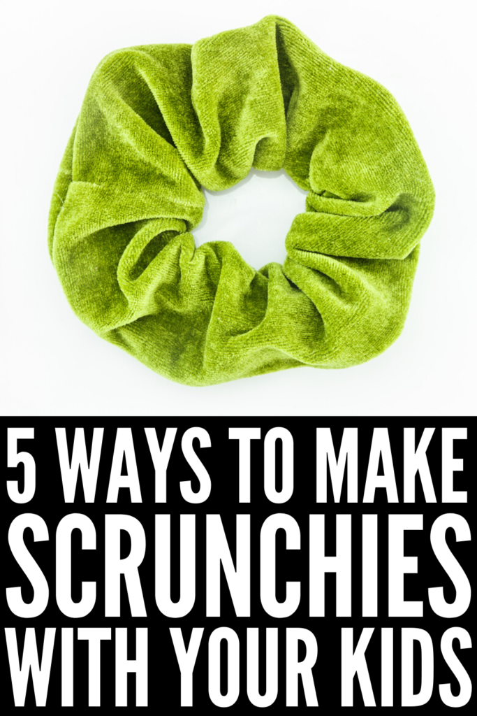 How to Make Hair Scrunchies with Your Kids | If you're looking for simple tutorials to teach you how to make 80s-inspired retro ponytail holders, we're sharing 5 step-by-step videos that are equal parts easy and stylish! Whether you use a sewing machine, sew by hand, or opt for the no sew options, there's a DIY scrunchie here for everyone! #scrunchie #scrunchies #DIYscrunchies