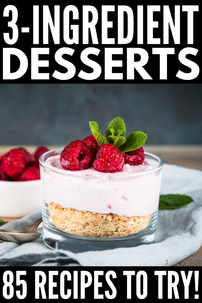 3-Ingredient Desserts | From healthy desserts, to easy no bake desserts, to 3-ingredient cookie recipes, to gluten-free desserts, to simple chocolate desserts you can whip up in minutes, we're sharing our favorite quick, no fuss treats you can make with things you already have on hand. Grab your peanut butter, cream cheese, and Nutella, and give these ideas a try! I especially love the microwave mug cakes and flourless brownies - yum! #3ingredientcookies #3ingredientrecipes #nobakedesserts