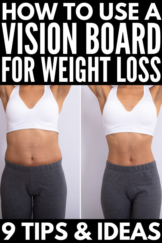 9 Weight Loss Vision Board Tips and Ideas | If weight loss is on your mind and you're on the hunt for motivational tips and tools that will keep you accountable to your goals, we've got you covered! We're teaching you how to make a vision board for weight loss, including goal setting ideas, step by step tips for curating photos, words, and quotes to bring your vision to life, and tons of inspiration to make the law of attraction help you in your weight loss journey!