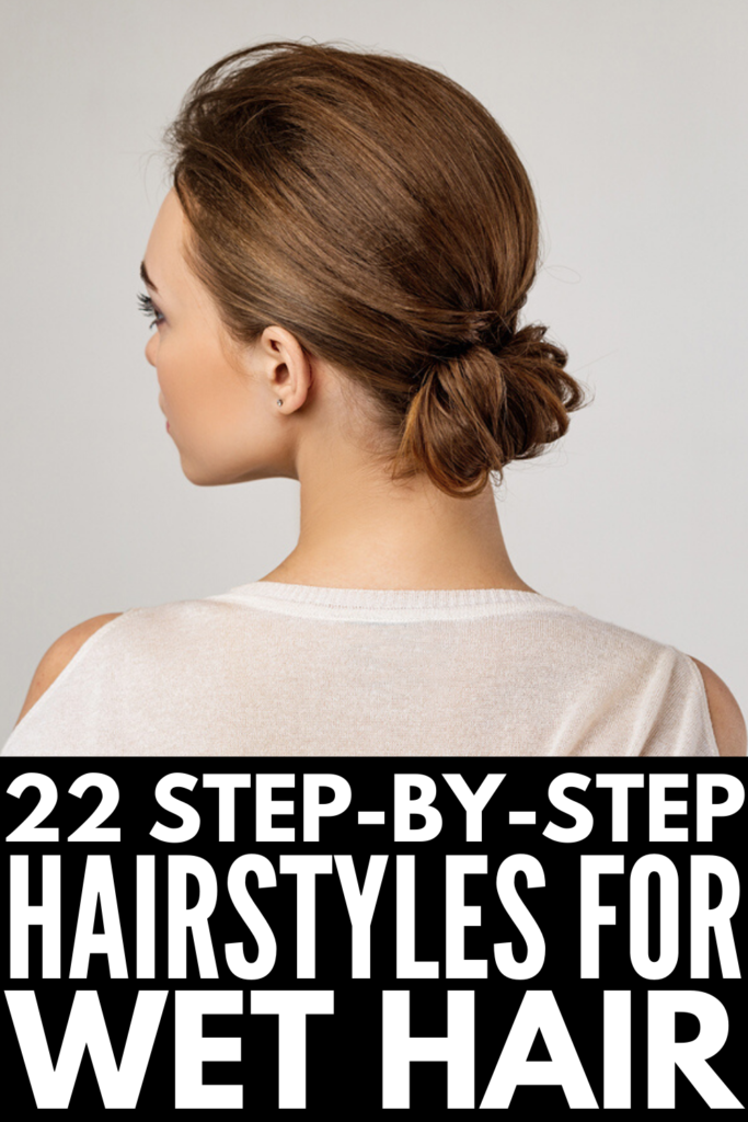 22 Wet Hair Hairstyles for All Hair Lengths | If you're looking for quick, easy, and stylish updos for mornings you're running late and have no time for long showers, a blowout, and time with your flat iron or curling wand, we're sharing our favorite step by step hair tutorials to help you transform your wet hair into cute and classy looks to fool the world into thinking you woke up on time. With options for short, medium, long, straight, wavy, and curly hair, there's a style for everyone!