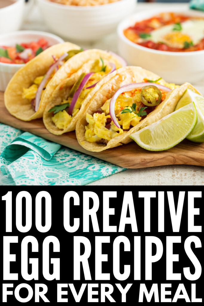 100 Creative Egg Recipes for Every Meal | If you're looking for high protein egg recipes you can whip up for breakfast, for lunch, for dinner, and even for dessert, we've curated tons of ideas for egg lovers! Forget hard boiled, scrambled, and deviled eggs - there are so many simple, healthy, easy, and creative ways you can cook with eggs! From keto breakfast enchiladas, to kimchi fried rice, to Korean bibimbap, to egg custard tarts, there's a recipe here for everyone!