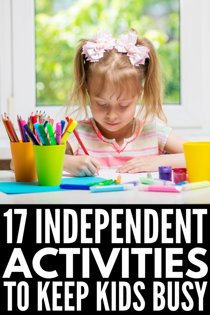 17 Independent Activities for Kids Who Are Stuck at Home | If you're looking for fun and engaging quiet activities your children can do by themselves on sick days, school holidays, and/or during an extended school closure, we're sharing 17 ideas that require little to no prep! Most of these are indoor activities for kids, but we've included some outdoor options for spring, summer, and fall! If you're trying to figure out how to work from home with kids, these ideas are perfect!