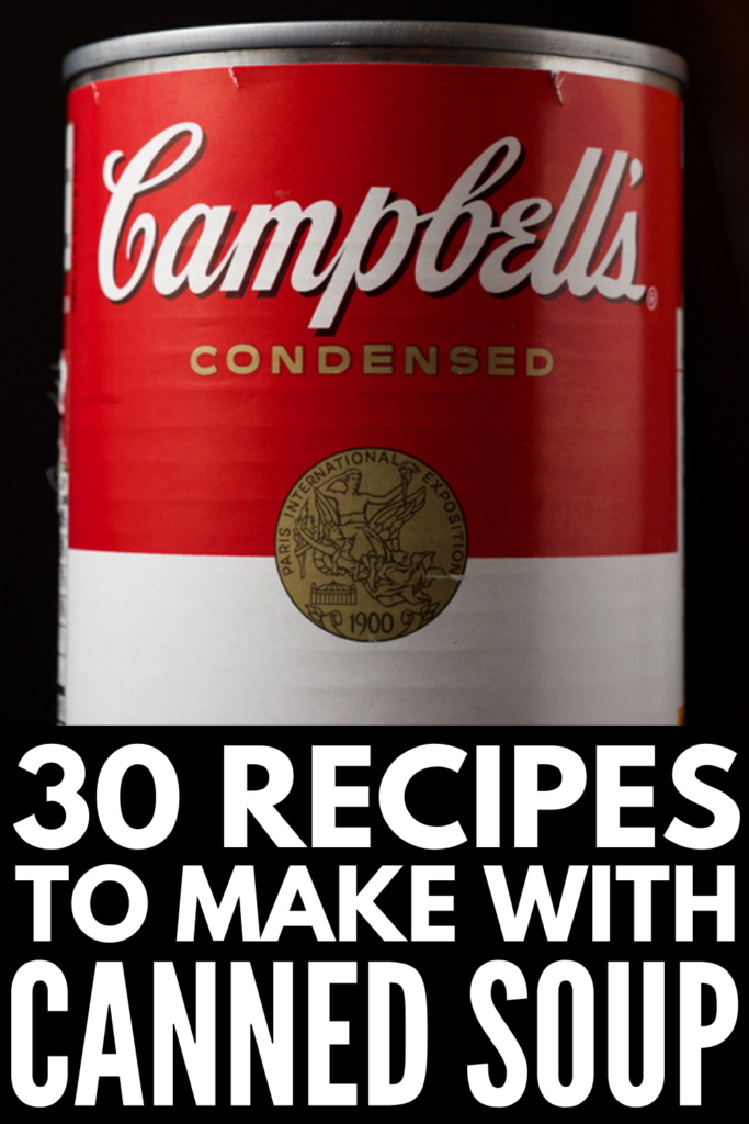 30 Recipes with Canned Soup | If you're looking for simple and easy canned soup recipes you can make at home, you're in for a treat! We're sharing 30 canned soup upgrade ideas, along with our favorite canned soup hacks to teach you how to create delicious and filling meals and dishes with your favorite tins of soup! From chicken pot pie crescent bread, to king ranch mac and cheese, to crockpot Swedish meatballs, we have lots of Campbells soup recipes to inspire you!