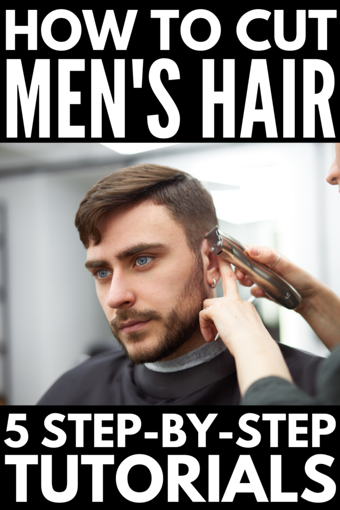 How to Cut Men's Hair at Home | If you're looking for step by step tutorials to teach you how to cut your son's, boyfriend's, or husband's hair, this post has everything you need to know. We're sharing the best tips from barbers plus video tutorials with step by step instructions, including the scissor over comb technique, how to fade hair with clippers, how to blend hair on the sides, and how to cut long hair on top with scissors.